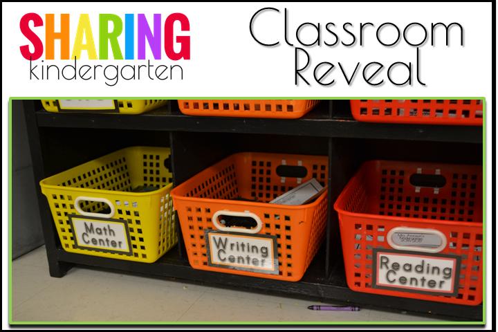 Organized center baskets from Sharing Kindergarten