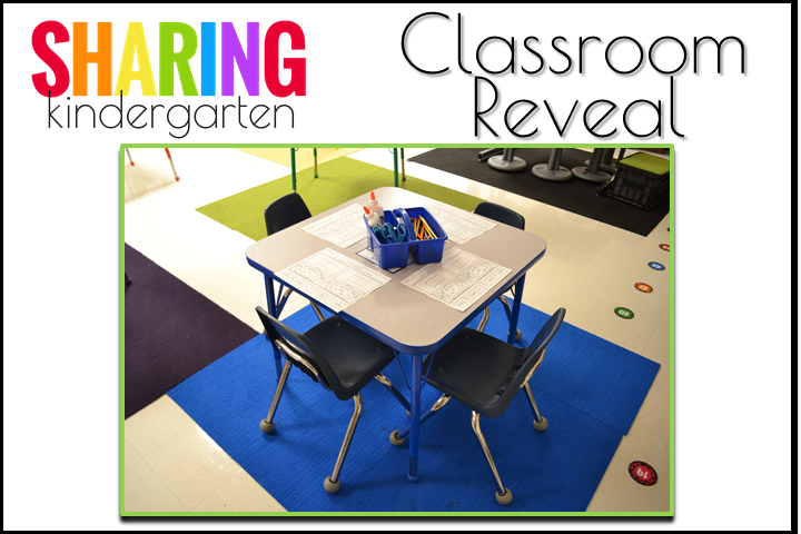 Color Coded Tables Classroom Reveal from Sharing Kindergarten