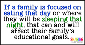 If a family is focused on eating that day or where they will be sleeping that night, THAT can and will affect their family's educational goals.