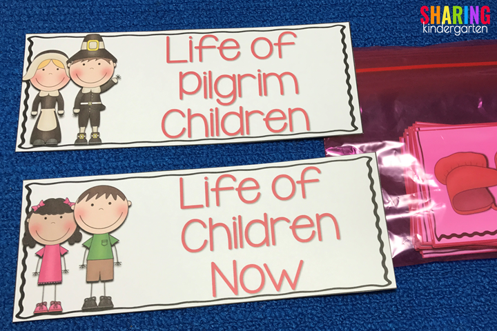 Life of Pilgrim Children and Children Now sorting cards
