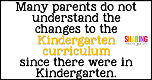 Many parents do not understand the changes to the Kindergarten curriculum since they were in Kindergarten.