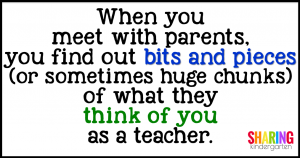 When you meet with parents, you find out bits and pieces (or sometimes huge chunks) of what they think of you as a teacher.