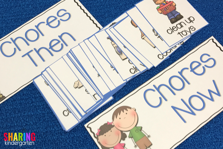 Chores NOW and THEN pocket chart cards