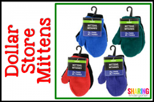 Dollar Store Mittens for Student Christmas Gifts