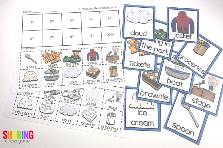 sequencing cards and printable for the book, If You Give a Mouse a Brownie
