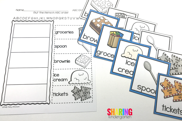 ABC ordering cards and printable for the book, If You Give a Mouse a Brownie