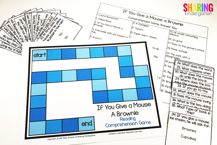 reading comprehension game for the book If You Give a Mouse a Brownie