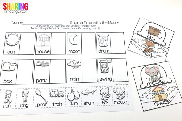 rhyming activities with the book If You Give a Mouse a Brownie