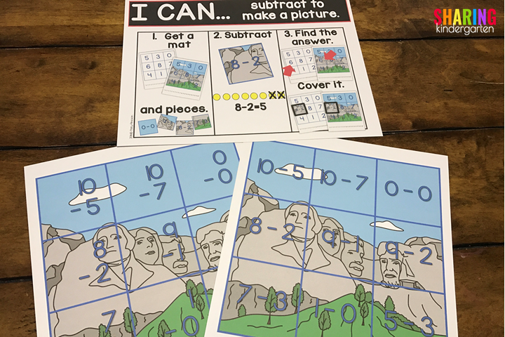 US Symbols Print & Play Pack for Subtraction!