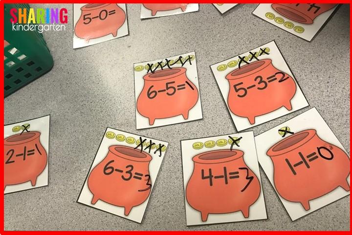 St. Patrick Math Activities: Pot of Gold Subtraction
