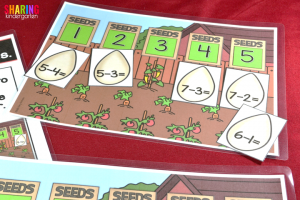 Spring Into Math Fun with seed subtraction game.