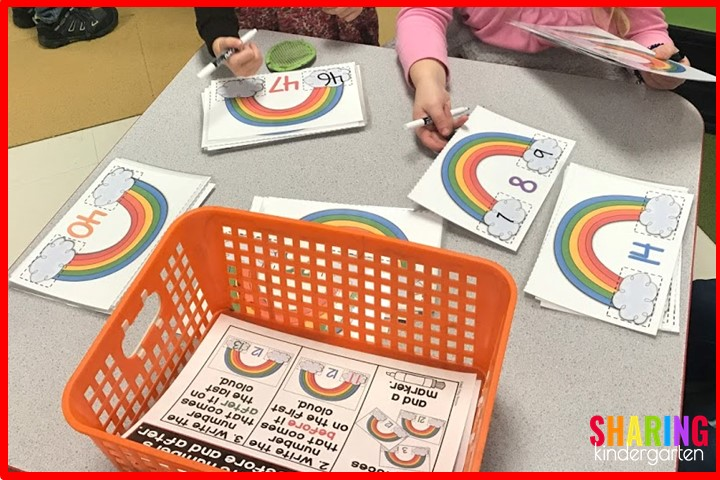 St. Patricks Math Activities: Numbers before and after using rainbows