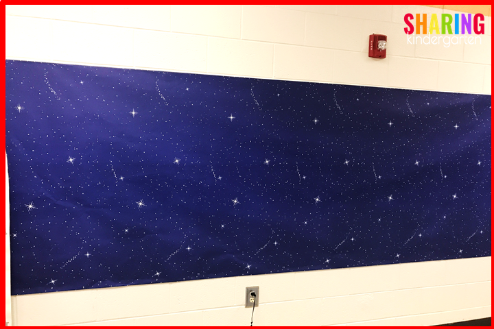 Off to Neverland Step 1- Cover the wall with night time fadeless paper.