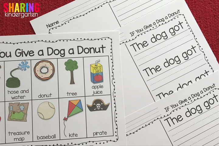 Word wall and three writing prompts for If You Give a Dog a Donut