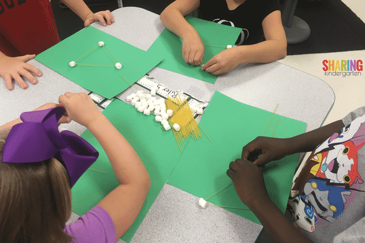create shapes with marshmallows and pasta