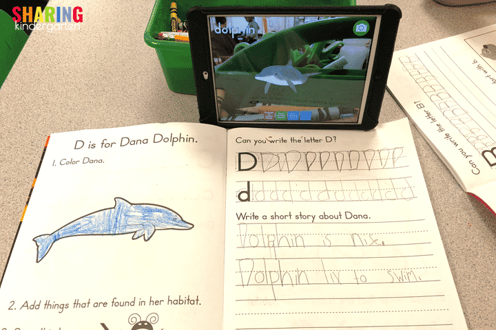 Augmented Reality dolphin for the letter Dd.