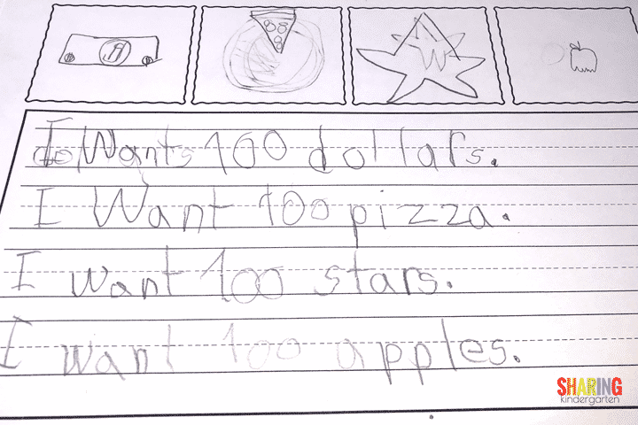 Writing example from the 100th day of school