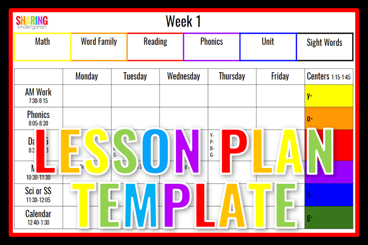 Lesson Plan Template for Kindergarten