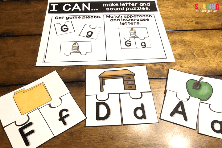 Letter and Sound Puzzles with a Back to School Theme