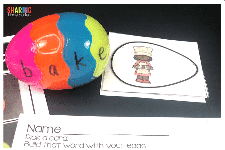 Build that word with your eggs. I can statements, cards, and response sheets.