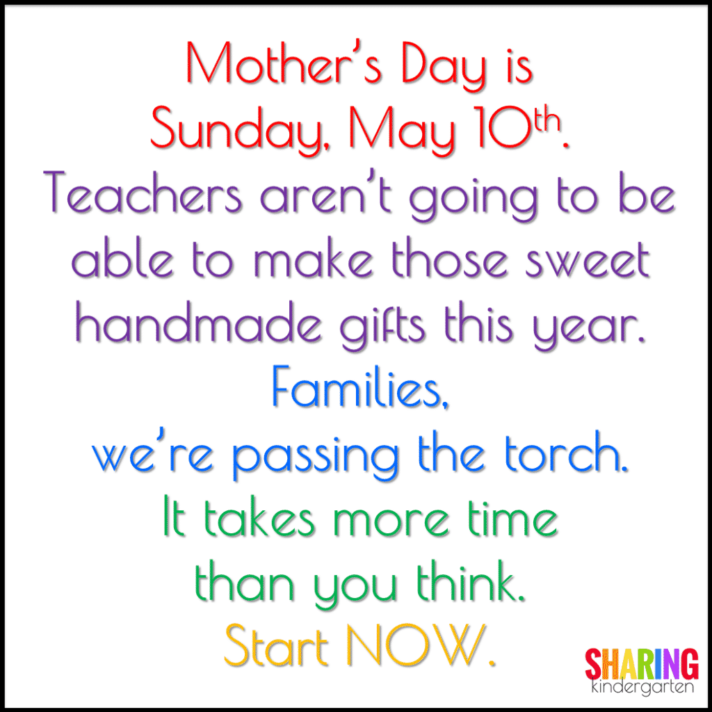 Mother's Day warning about passing the torch.