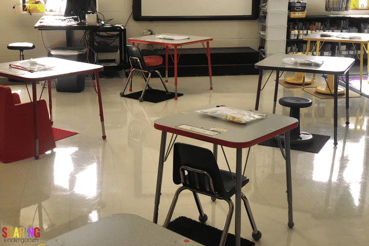 Spread out those desks for face to face learning in Kindergarten.