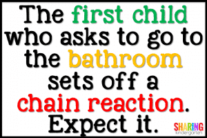 Bathroom breaks are contagious... so are bandaids.
